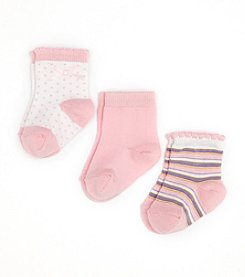 Cuddle Bear® Infant Girls' 3-Pack Socks - Pink Multi