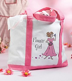 "Lillian Rose® White & Pink ""Flower Girl"" Canvas Tote"