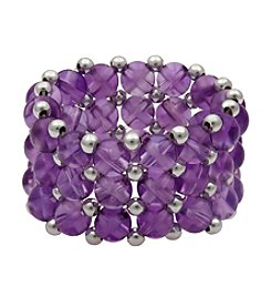 Amethyst and Silver Bead Stretch Ring