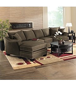 HM Richards Bryant Flared-Arm Espresso Microfiber Sectional : suede sectional sofas - Sectionals, Sofas & Couches