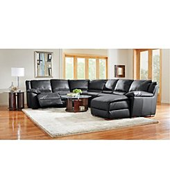 Natuzzi Editions® Genoa Black Leather Reclining Sectional