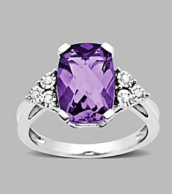 Amethyst and Diamond Accent Ring in Sterling Silver