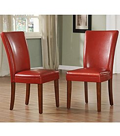 Home Interior Set of 2 Faux Leather Upholstered Dining Chairs - Red