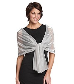 Cejon® White/Silver Lurex Shimmer Evening Wrap