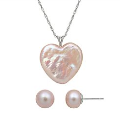 .925 Sterling Silver Pink Mother of Pearl Pendant/Earring Set