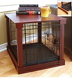 Merry Products™ Steel Pet Crate with Cherry Wooden Cover