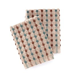 Croscill® Bryan 2-pk. Aqua & Brown Checkered Dish Cloths