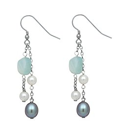 Sterling Silver Freshwater Pearl Aquamarine Stone Earrings