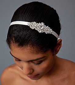 Nina Bridal Cece Ribbon Headwrap with Genuine Crystal Embellishment - Ivory Satin