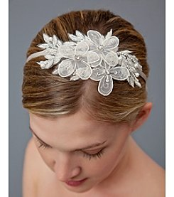 Nina Bridal Dabney Beaded Floral Headband - Ivory