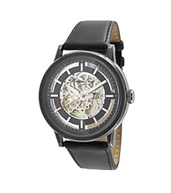 Kenneth Cole New York® Men's Black Ionic Plated Case Watch with Black Leather Strap