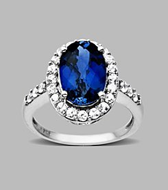 Created Blue and White Sapphire Ring in Sterling Silver
