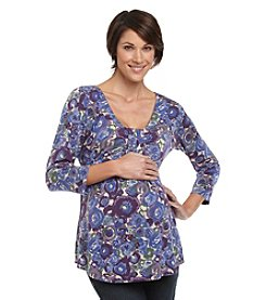 Three Seasons Maternity™ Purple Watercolor Floral Drapefront Top