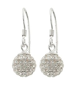 Athra Sterling Silver Crystal Pave Ball Drop Earrings