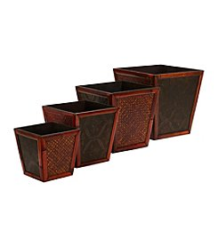 Nearly Natural® Bamboo Square Decorative Planters (Set of 4)