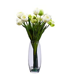Nearly Natural® Tulip with Vase Silk Flower Arrangement