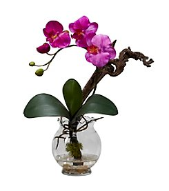 Nearly Natural® Mini Phalaenopsis with Fluted Vase Silk Flower Arrangement