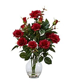 Nearly Natural® Rose Bush with Vase Silk Flower Arrangement