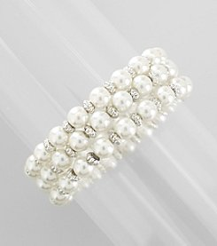 Studio Works® Three Row White Pearl and Silvertone Facet Stretch Bracelet
