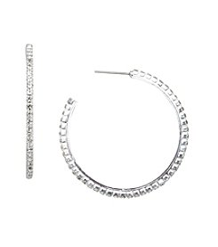 BT-Jeweled Crystal Hoop Earrings