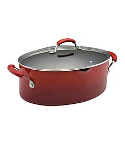 Rachael Ray® 8-qt. Red Porcelain II Covered Oval Pasta Pot with Pour Spout