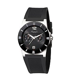 Kenneth Cole New York® Men's Round Dial Watch with Black Rubber Strap