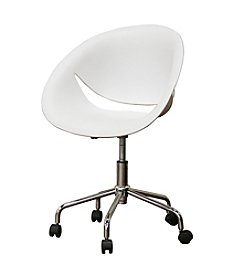 Baxton Studios Justina White Molded Plastic Modern Swivel Office Chair