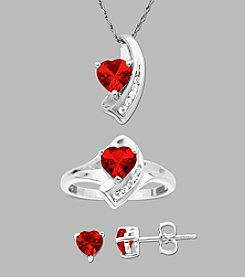 Sterling Silver Created Ruby and Created White Sapphire Box Set