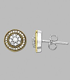 14K Yellow Gold and Sterling Silver Earrings with .32 ct.tw. Diamond