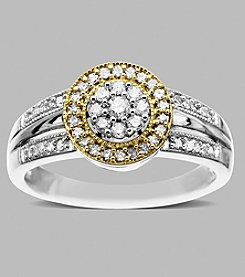 14K Yellow Gold and Sterling Silver Ring with .32 ct.tw. Diamond