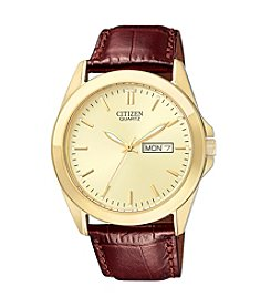 Citizen® Men's Goldtone Watch with Brown Leather Strap
