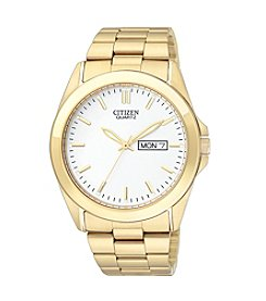 Citizen® Men's Gold-Tone Watch with White Dial