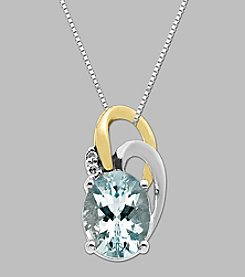 .02 ct. t.w. Diamond and Aqua Pendant in Sterling Silver