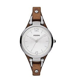 Fossil® Women's 32mm Georgia Watch With Brown Leather Strap