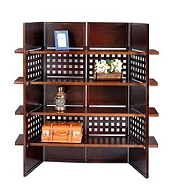 Ore International™ Walnut Finish 4-Panel Book Shelf and Room Divider