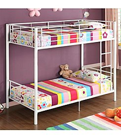 W. Designs White Metal Twin Bunk Bed