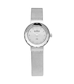 Skagen Women's Silvertone Faceted Glass Bezel Watch