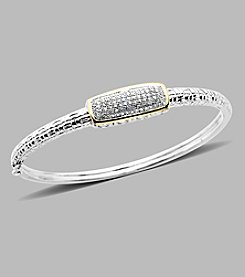 .25 ct. t.w. Diamond Sterling Silver and 14K Yellow Gold Bangle Bracelet