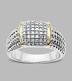 14K Yellow Gold and Sterling Silver Ring with .27 ct. t.w. Diamond