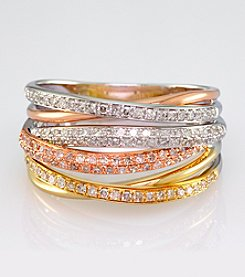 Effy® Trio Collection 14K Yellow, White, and Rose Gold Ring with .54 ct. t.w. Diamond