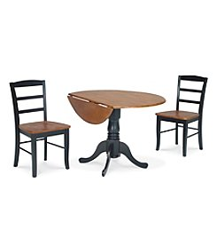 International Concepts 3-pc. Black & Cherry Wood Dual Drop Leaf Dining Set