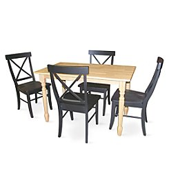 International Concepts 5-pc. Natural & Black Wood Dining Set