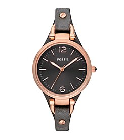 Fossil® Women's 32mm Georgia Watch With Gray Leather Strap