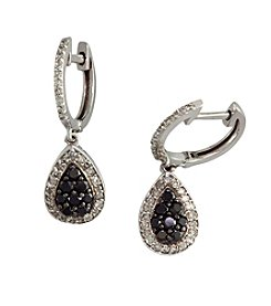 Effy® .60 ct. t.w. Black and White Diamond 14K White Gold Earrings