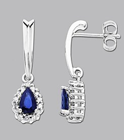 Sterling Silver Blue and White Sapphire Drop Earrings