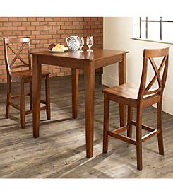 Crosley Furniture 3-pc. Pub Dining Set with Tapered Leg & X-Back Stools