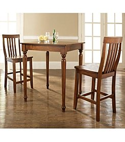 Crosley Furniture 3-pc. Pub Dining Set with Turned Leg & School House Stools