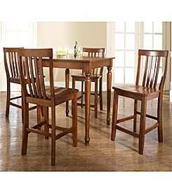 Crosley® Furniture 5-pc. Pub Dining Set with Turned Leg & School House Stools - Cherry