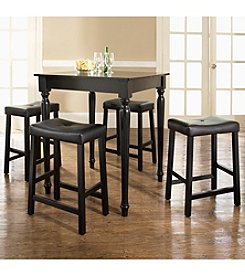 Crosley® Furniture 5-pc. Pub Dining Set with Turned Leg & Upholstered Saddle Stools - Black