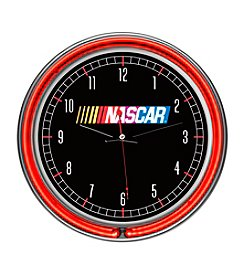 NASCAR® Chrome Double-Ring Neon Clock